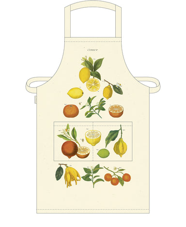 Lemons, limes, oranges, and tangerines are among the citrus fruits featured on Cavallini's Citrus Apron.