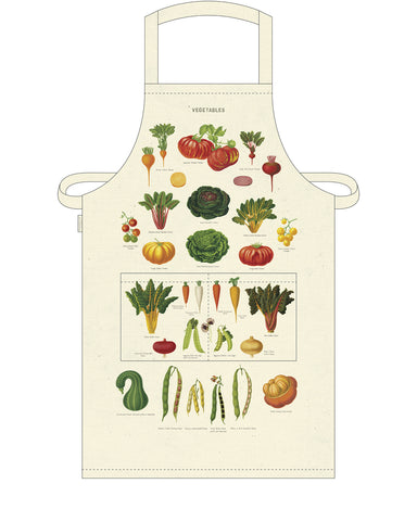 Who doesn't love Cavallini's selection of vintage imagery? The Vegetable Cotton Apron features a selection of colorful vintage images of garden vegetables, each labeled by name.