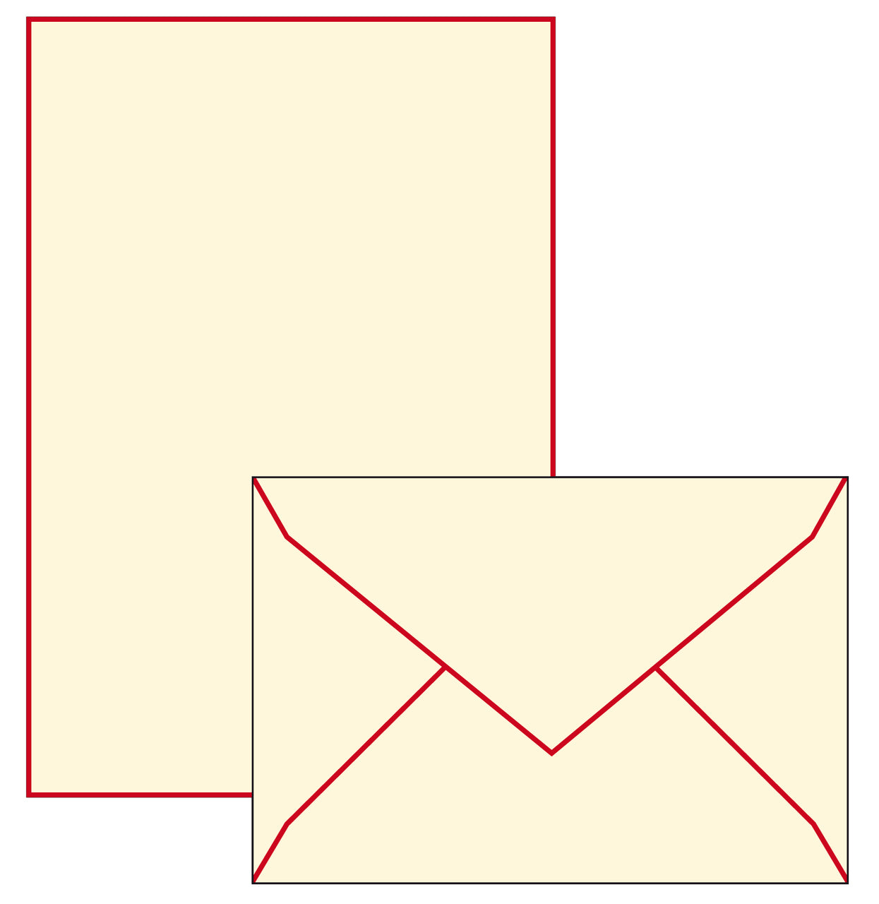 Use this set with its larger size writing sheets for daily correspondence and letter writing. Writing sheets and envelopes have  a red border.