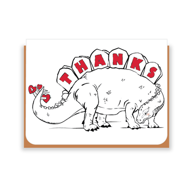 Two Hands Made- Stegosaurus Thank You- single greeting card is blank inside, ready for your own special message.