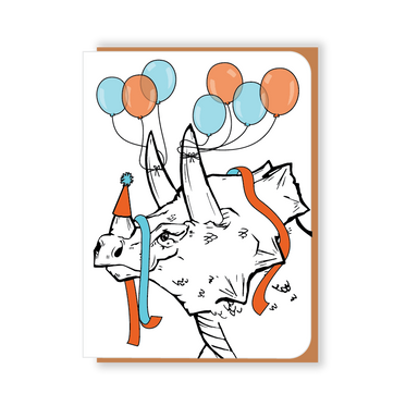 Two Hands Made- Party Triceratops with Balloons- single greeting card is blank inside, ready for your own special message.