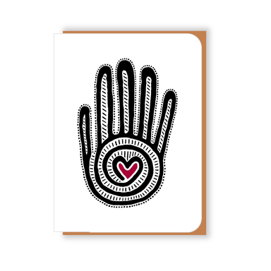 Two Hands Made- Mano y Corazon greeting card is blank inside, ready for your own special message.