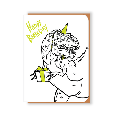 Two Hands Made- Happy Birthday T-Rex wears a green party hat and brings a gift.