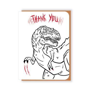 Two Hands Made- Thank You T-Rex scratches out his greetings on the front of the card.
