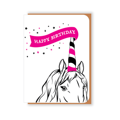 Two Hands Made- Happy Birthday Unicorn with pink banner- single greeting card is blank inside, ready for your own special message.