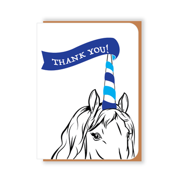 Two Hands Made-Thank You Unicorn with blue banner- single greeting card is blank inside, ready for your own special message