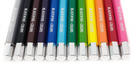 Each of the colored pencils feature a silver imprint and silver caps.