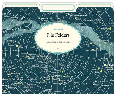 Celestial File Folder set by Cavallini & Co.- brighten up your filing chores with night sky maps!
