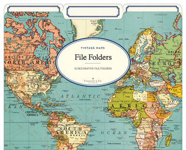 Cavallini & Co. world Map File folders- new style. Add some color and life to your filing tasks with Cavallini's 3-tab file folders!