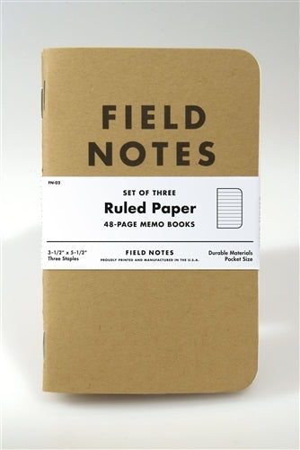 Field Notes Kraft Cover Ruled 3-pack