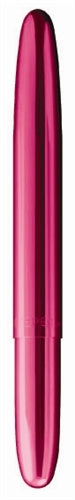 Fisher Bullet Space Pen- Fuchsia Flurry features a pressurized cartridge that can write in harsh conditions.