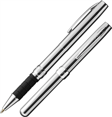 Fisher Space Pen 750X-Chrome features a shiny chrome body and a comfortable black grip.