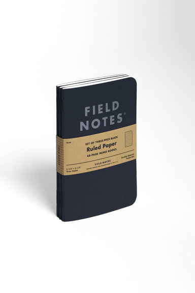 This pack of three Field Notes Pitch Black Ruled notebook measures 3.5 by 5.5 inches.