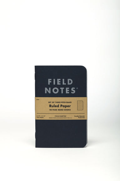 Field Notes Pitch Black Ruled 3-Pack- 3x5- NEW! is variation on the old Pitch Black notebooks.