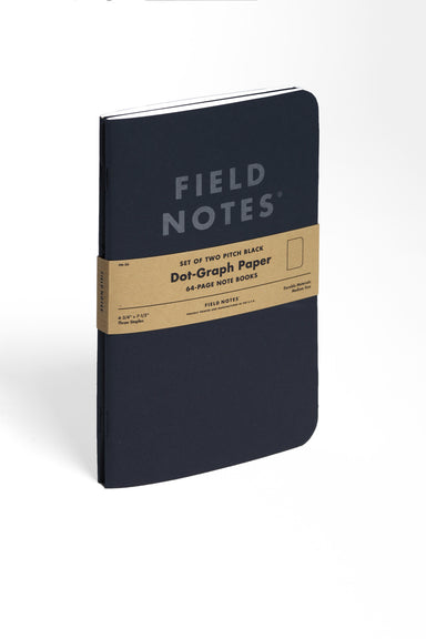 The Field Notes Pitch Black Dot Grid 5x7 comes in a package of two.