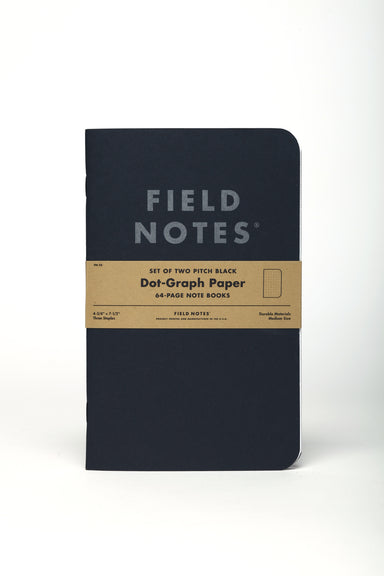 Field Notes Pitch Black Dot Grid 2-Pack- 5x7- NEW! features a new size that has more space for all your thoughts.