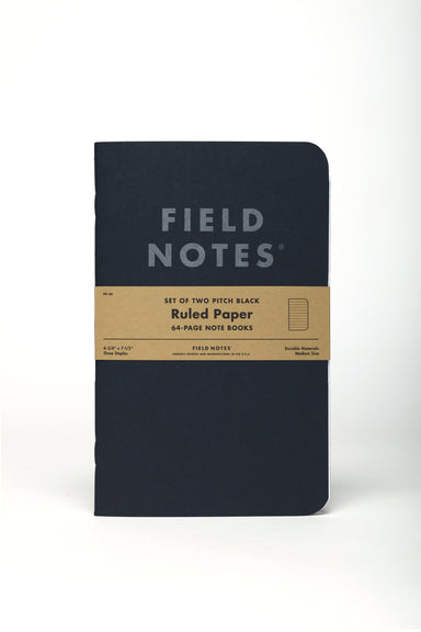 Field Notes Pitch Black Ruled 2-Pack- 5x7- NEW! is larger than most Field Notes Notebooks measuring 4.75 inches by 7.5 inches.