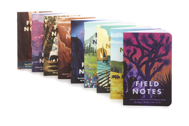 "Field Note's 43rd seasonal release for Summer 2019 was the first of the ""National Parks"" series. September 2020 sees the release of set E- Denali, Cuyahoga, Olympic National Parks."