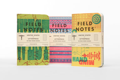 "The Field Notes 48th Quarterly Limited Edition for the Fall of 2020 is the ""United States of Letterpress,"" which features the work of nine independent letterpress shops from across America."