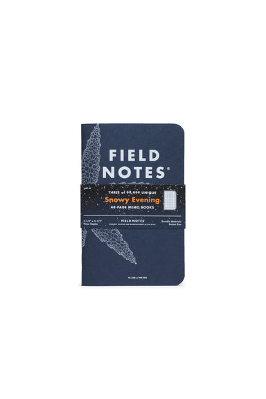 "The Winter 2020 edition of Field Notes is called ""Snowy Evening"", and features a  unique snowflake and each of the near 100,000 covers!"