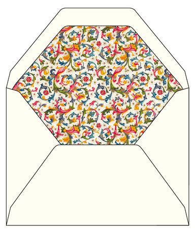 Fiorenza Lined Envelopes  comes in a package of 100. The liner features a classic Florentine pattern. 6.25 by 8.38 inches in size  (16 by 21.3 cm.).