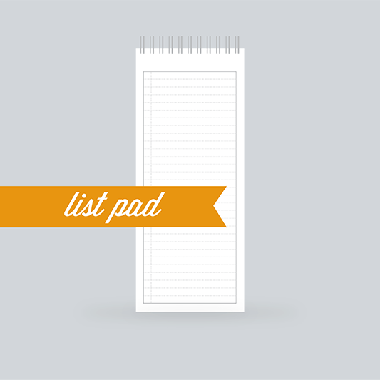 "List Pad Paper: 130 Pages- Ruled, with a ""check box"" on the left side of the page, repeating on the front & back - 100% Post Consumer Recycled"