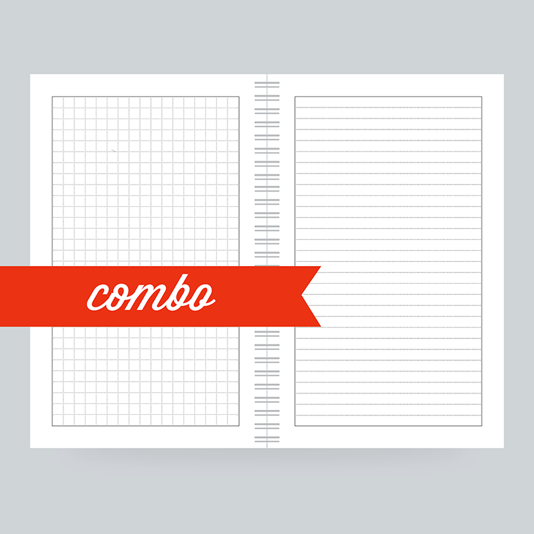 Combo paper has lined on one side and grid on the other- write out and draw your plans in the same notebook.