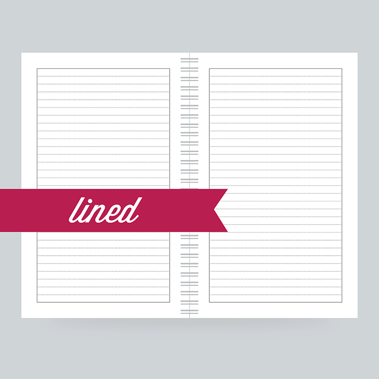 Choose college ruled filler paper for your custom notebook.