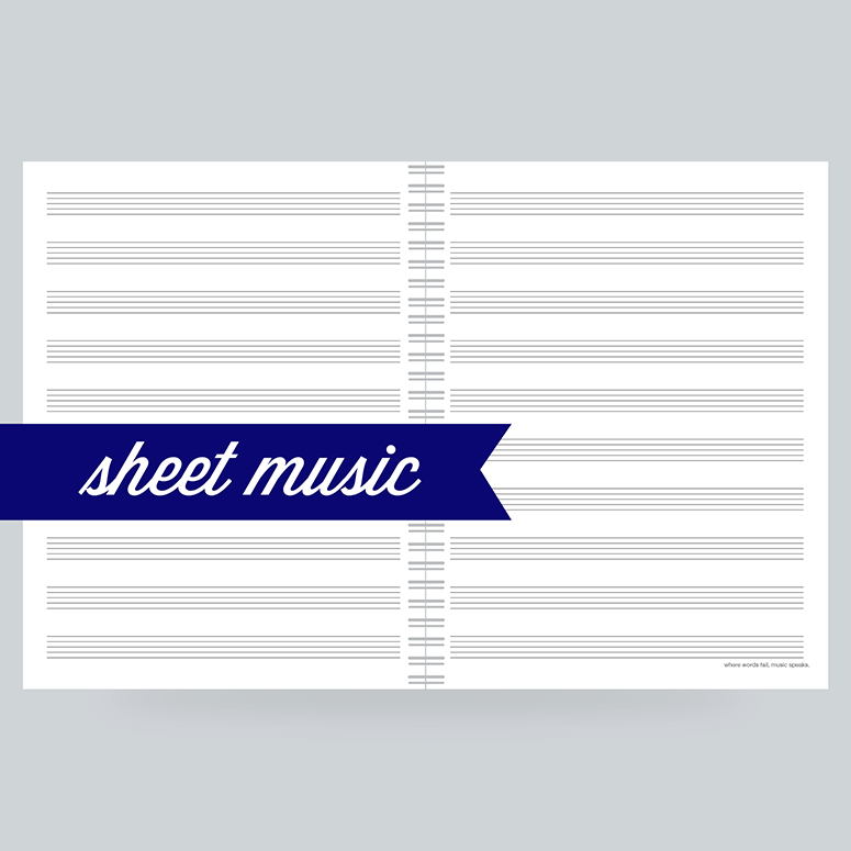 "Sheet Music :  130 Pages- 10 staves per page on front and back - 100% Post Consumer Recycled - ""Where words fail, music speaks"""