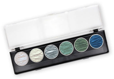 Ocean set includes one pan each of Blue Pearl (Shimmer), Green Pearl (Shimmer), Blue Silver, Blue Green (Shimmer), Moss Green, Midnight Blue.