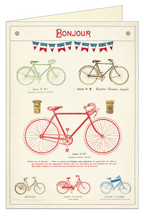 Cavallini & Co. Bicycle Bonjour Blank Single Greeting Card