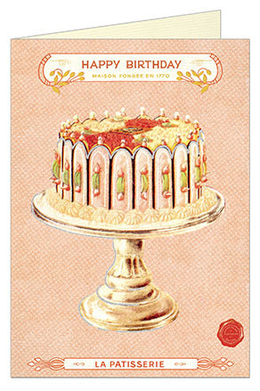 Cavallini & Co. Happy Birthday Vintage Cake Single Card