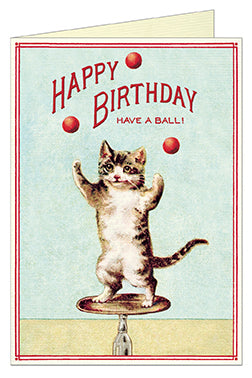 Cavallini & Co. Juggling Cat Happy Birthday Single Card- blank inside