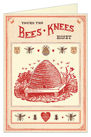 Cavallini & Co. Bees Knees Valentine Greeting Card- Single Card, Blank Inside