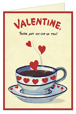 Cavallini & Co. Cup of Tea Valentine Greeting Card- Single Card, Blank Inside