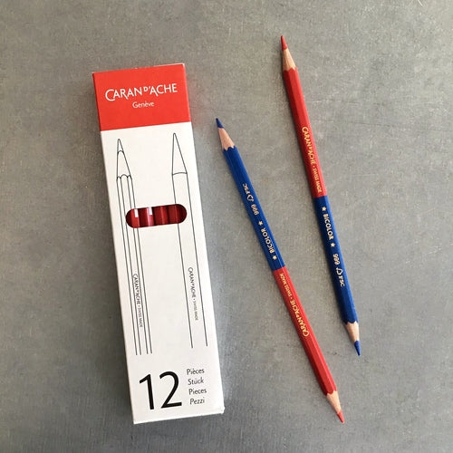 Caran d'Ache Bicolor Pencil in Red and Blue- Box of 12