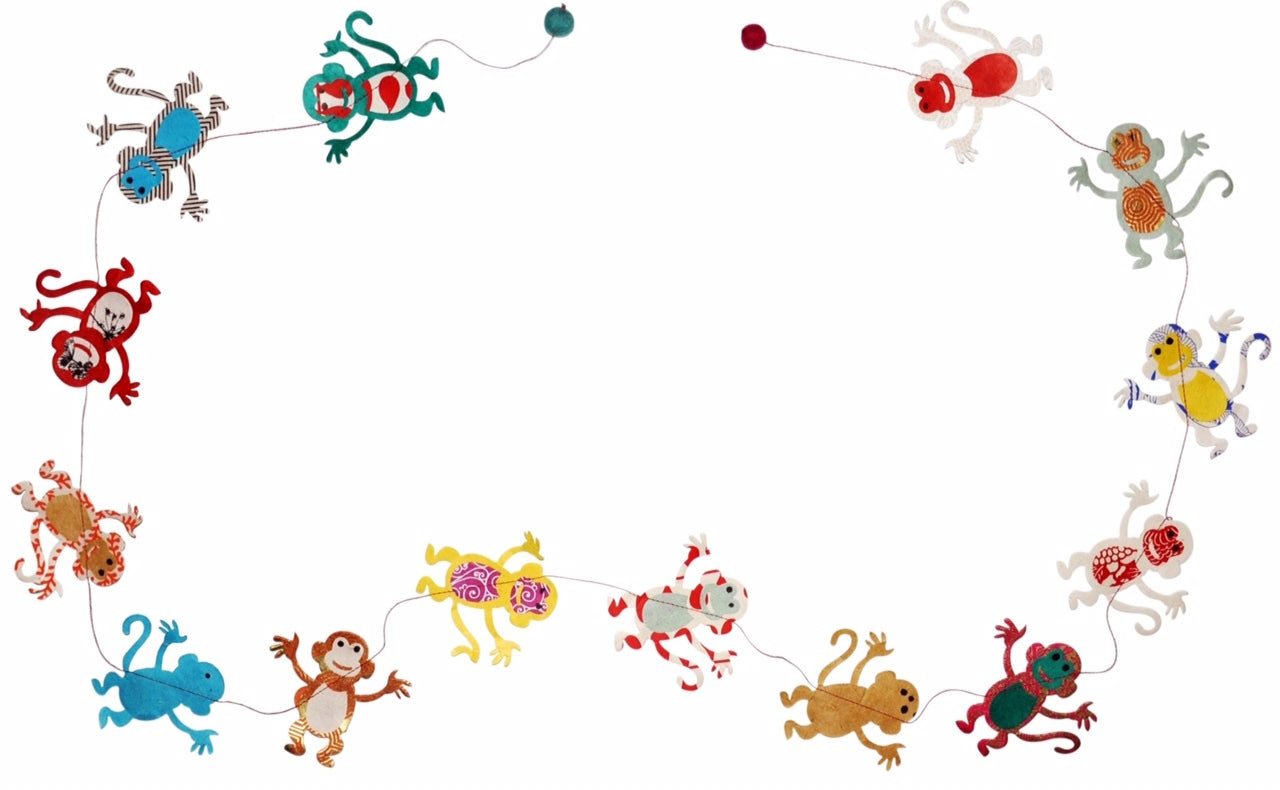 Handmade Lokta Paper Garland- a string of Monkeys- what could be more fun that a bunch of colorful, happy monkeys!