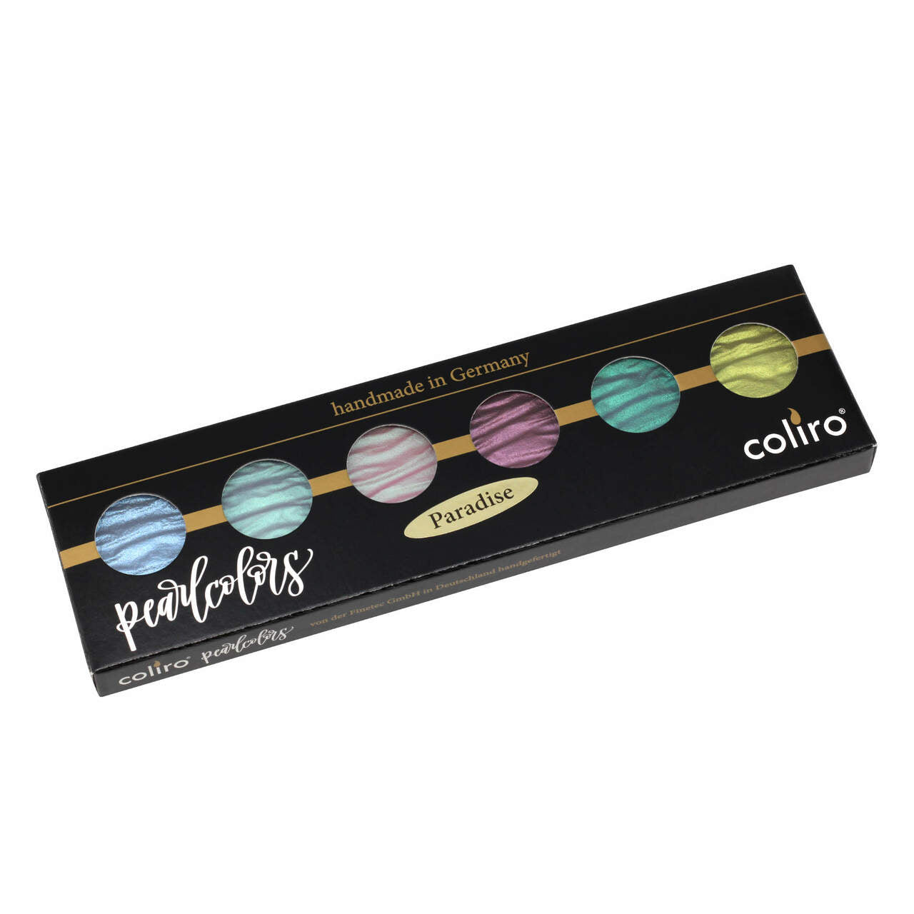Coliro Pearlcolors Watercolors are handmade in Germany using natural mica to create a unique finish.