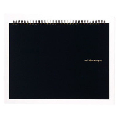 Maruman Mnemosyne spiral bound notebooks feature durable, black plastic covers with rounded corners, bound with twin wire spiral binding.