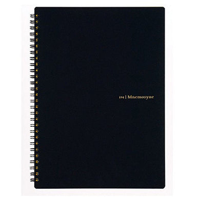 Maruman Mnemosyne Japanese spiral bound note pads feature durable, black plastic covers with rounded corners, bound with twin wire spiral binding.