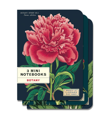 Bees & Honey Botany Mini Notebook set comes with three high quality notebooks featuring bright and colorful reproductions of vintage botanical images.