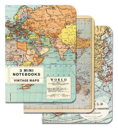 Cavallini & Co. Vintage Maps Mini Notebook set.