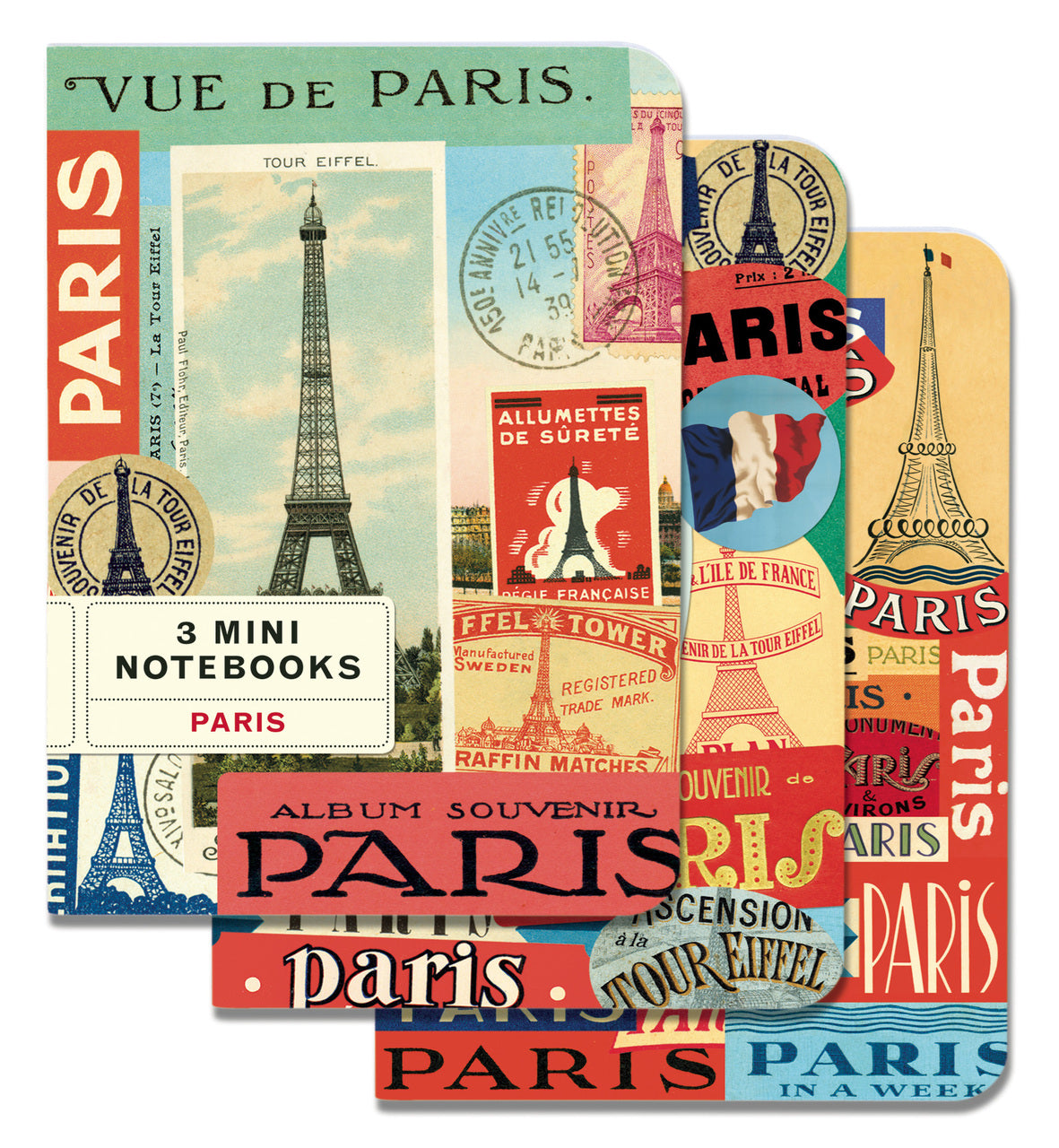 Cavallini & Co. Paris Mini Notebook Set features images of Paris. Each set comes with 3 notebooks: blank, lined, grid.