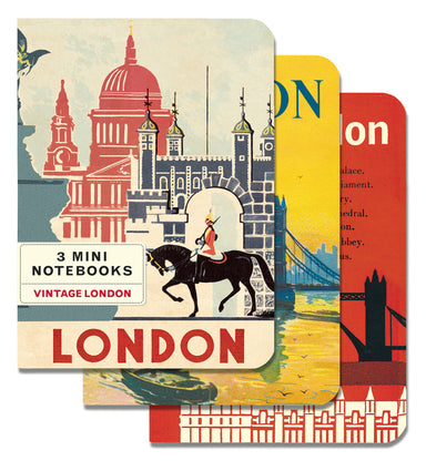 Cavallini & Co. London Mini Notebook Set features images of London. Each set comes with 3 notebooks: blank, lined, grid.
