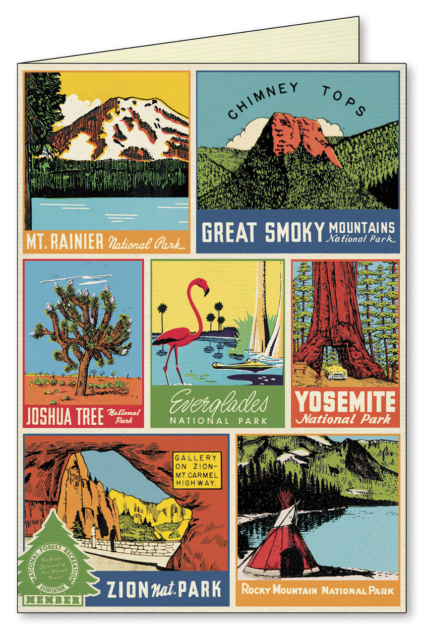 A collection of vintage National Parks designs is featured on this card.