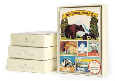 Cavallini & Co. National Parks notecard set features vintage images collected by Cavallini.