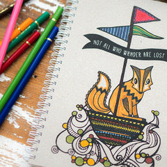 Featuring an adorable fox out at sea, this notebook is printed with black ink on our Natural cover.