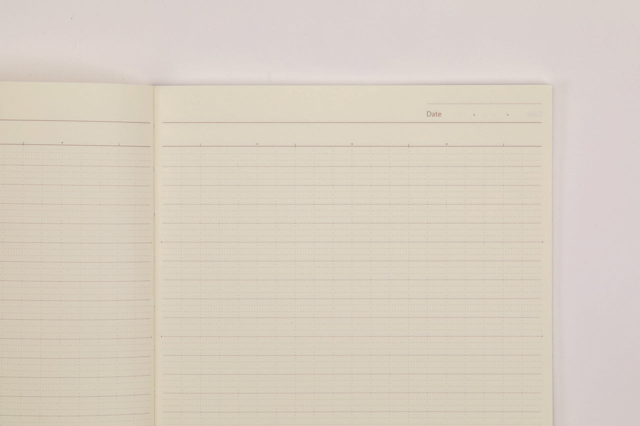 Each page has its own heading with spaces for date and title.  Smooth, cream colored paper is easy on the eye and works well with any writing instrument.