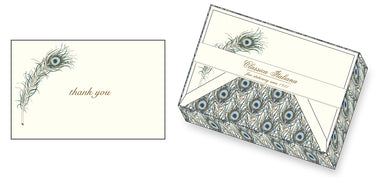 Peacock feather-patterned paper lines the envelopes in this set of classic Italian stationery by Rossi 1931.
