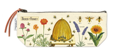 Cavallini & Co. Bees and Honey Mini Pouch- a smaller version of the Vintage Canvas Pouch measuring 4 by 9 inches when lying flat.